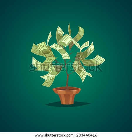 Money tree. Isolated object \ background. - stock vector