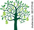 money tree isolated on White background. Vector illustration - stock photo