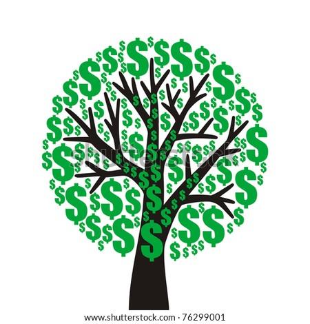 money tree on white background - stock vector