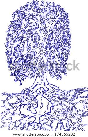 money tree, sketch - stock vector