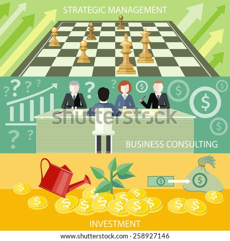 Money tree with coins watered from watering can. Investment concept. Business partners sitting at table and discussing documents and idea at meeting. Business consulting. Business strategic management - stock vector