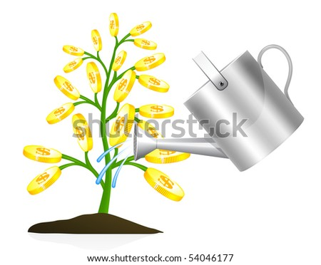 Money tree with watering can illustration on white background - stock vector