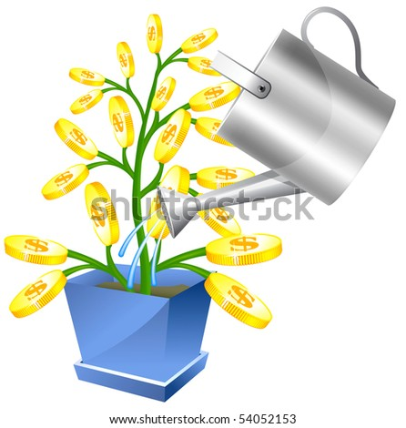 Money tree with watreing can - stock vector