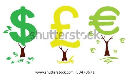 Money trees - stock vector