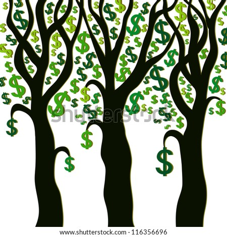 Money trees on white background. Vector illustration - stock vector
