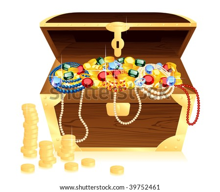 Money trunk wit riches,  vector illustration, EPS file included - stock vector
