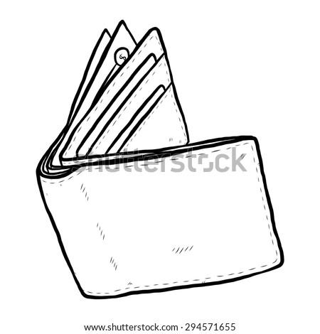 money wallet cartoon vector illustration black stock
