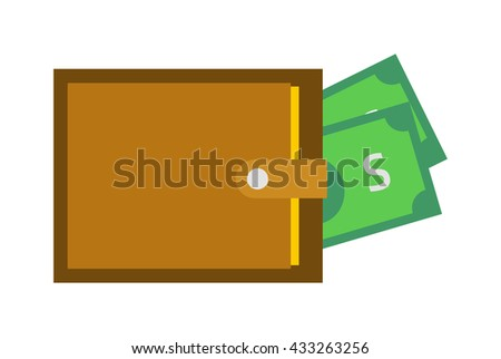 Money wallet full of green dollars. Flat style money wallet vector illustration. Business purse currency rich money wallet and shopping payment wealth money wallet finance cash sign. - stock vector