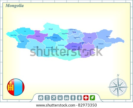 Mongolia Map with Flag Buttons and Assistance & Activates Icons Original Illustration - stock vector
