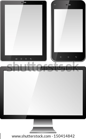 monitor and smart phones - stock vector