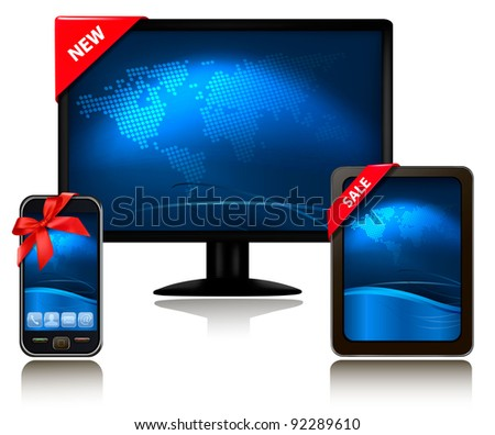 Monitor and tablet computer and mobile phone with ribbons. Vector. - stock vector