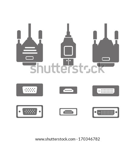 Monitor hardware icons ,cabels - stock vector