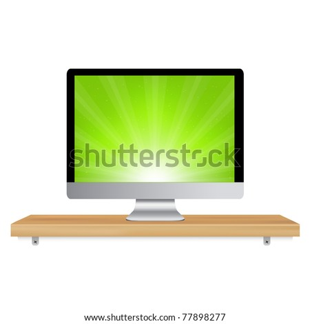 Monitor Icon Wooden Shelf, Isolated On White Background, Vector Illustration - stock vector
