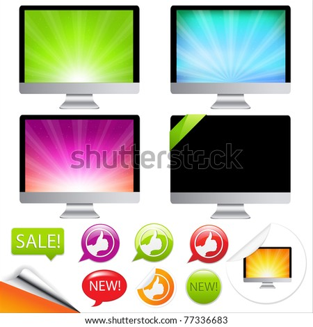 Monitor Icons Set With Labels, Isolated On White Background, Vector Illustration
