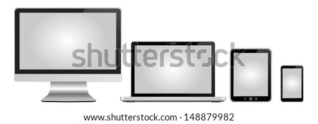monitor, notebook tablet pc and mobile phone with gray displays - stock vector