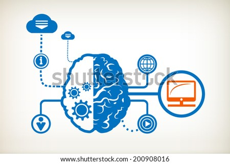 Monitor screen and abstract human brain, the concept of the information movement - stock vector