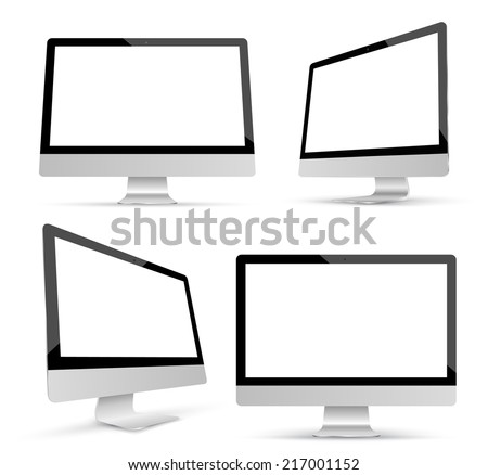 Monitor set mockup vector. Realistic object. Can use for printing and website. - stock vector