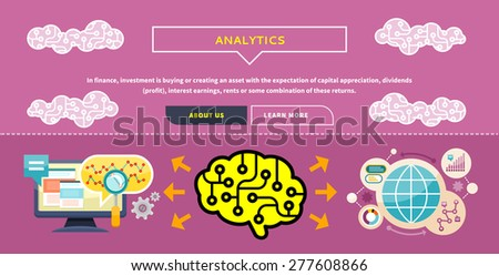 Monitor with charts and parameters. Business concept of analytics. Brain analyzes the incoming information. Can be used for web banners, marketing and promotional materials, presentation templates  - stock vector