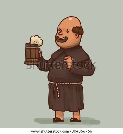 monk with a beer, vector - stock vector
