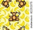 Monkey and banana seamless background - stock vector