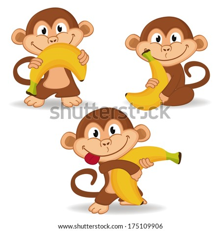 monkey and banana - vector illustration - stock vector