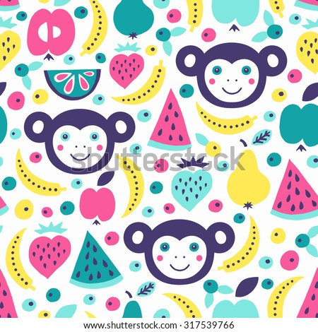 Monkey and fruits seamless pattern. Vector illustration. - stock vector