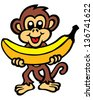 Monkey & Banana - stock vector