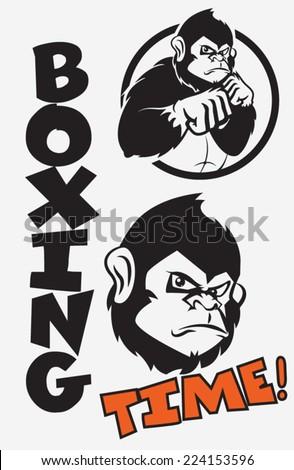 Monkey, boxing - stock vector