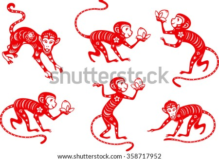 Monkey. Chinese paper cut collection. - stock vector