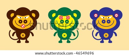 monkey collection - stock vector