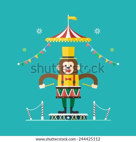 Monkey drummer circus theme ,Vector illustration - stock vector