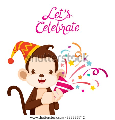 Monkey Fun With Party, Animal, Celebration, Festive, Anniversary - stock vector