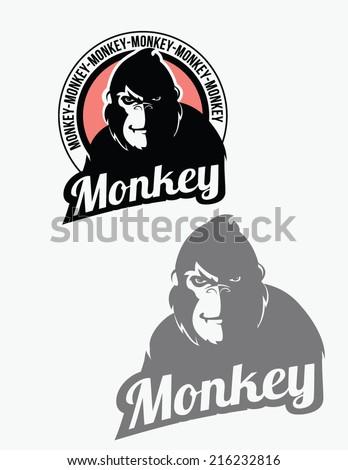 Monkey, gorilla badge - stock vector