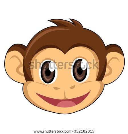 monkey head white background stock vector 352182815 shutterstock rh shutterstock com cartoon monkey head drawing cartoon monkey head drawing
