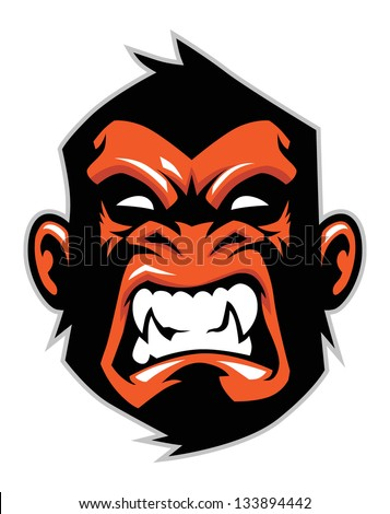 monkey head mascot - stock vector