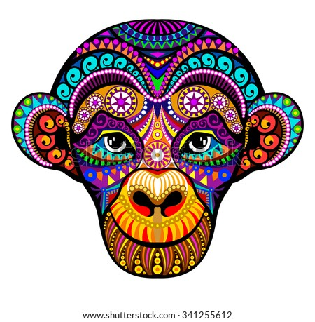 Monkey Head. 2016. Tribal colorful design.  It may be used for design of a t-shirt,  greeting card, a poster. - stock vector