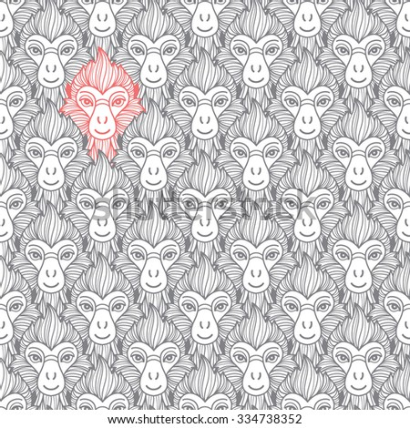 Monkey heads seamless vector pattern. Chinese zodiac symbol. Repeating monkey head with fire looking hair. New Year of the fire or red monkey 2016 background. - stock vector