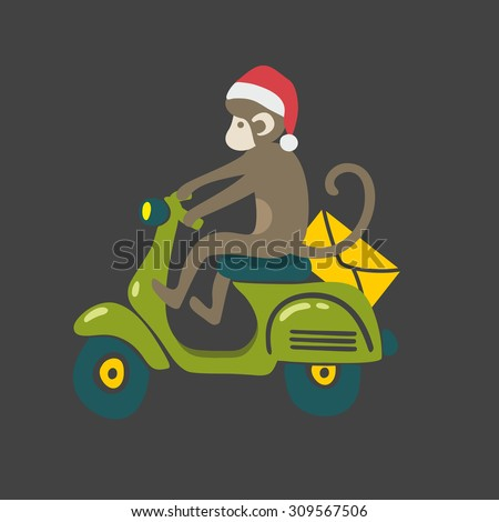 Monkey in red christmas hat on the vintage scooter. Animal drives transport. Vector isolated illustration on dark background. - stock vector