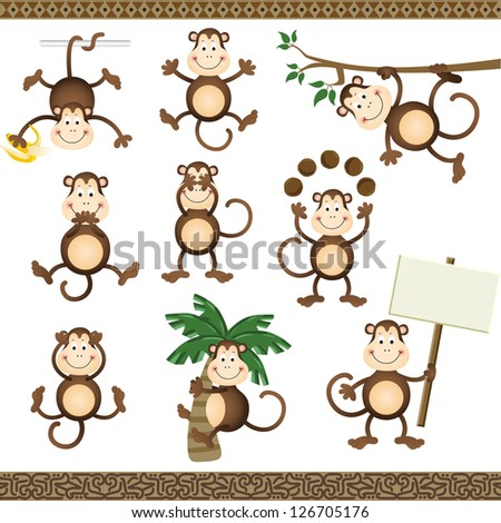Monkey in varying positions - stock vector