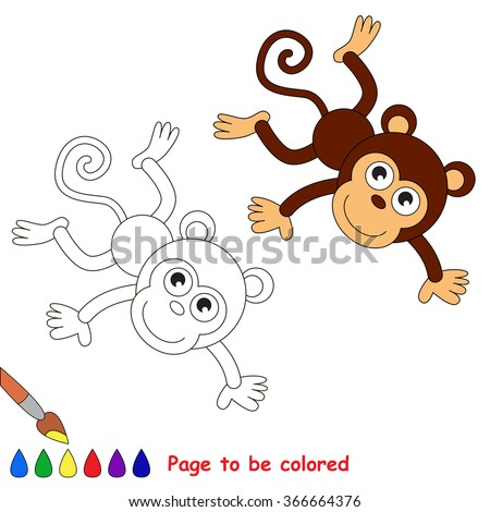 Monkey in vector cartoon to be colored. Coloring book for children.