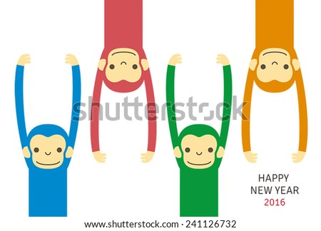 Monkey, new year card/ vector illustration - stock vector