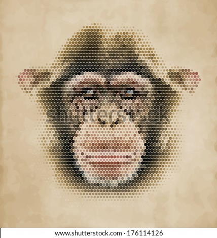 Monkey portrait made of geometrical shapes - Vintage Design Chimpanzee face - stock vector