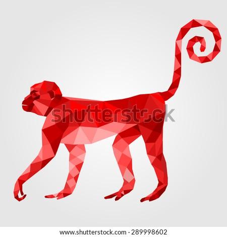 Monkey stylized triangle polygonal model - stock vector