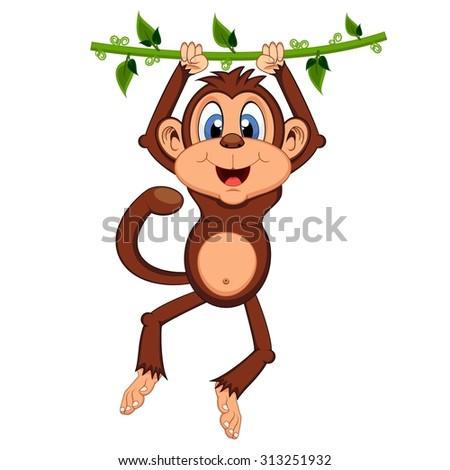 Monkey swinging on vines cartoon - stock vector