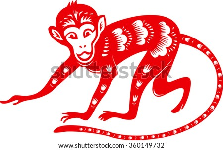 Monkey. Symbol of Chinese new year 2016. Paper cut style.