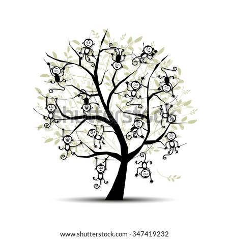 Monkey tree for your design. Symbol of 2016 year. Vector illustration