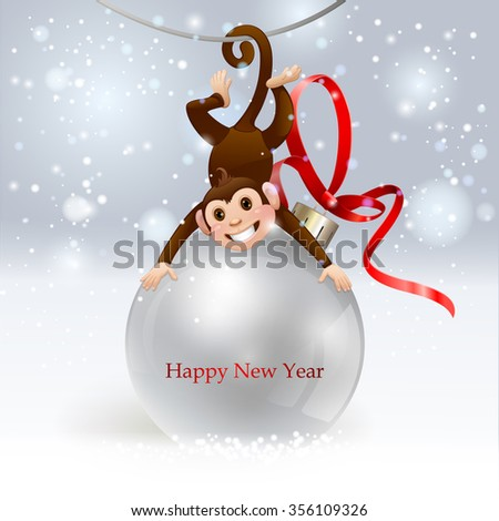 Monkey with a ball. Happy new year 2016. Vector eps 10. - stock vector