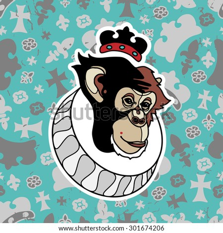 Monkey with crown and grunge seamless pattern with heraldry symbols. Vector isolated elements.