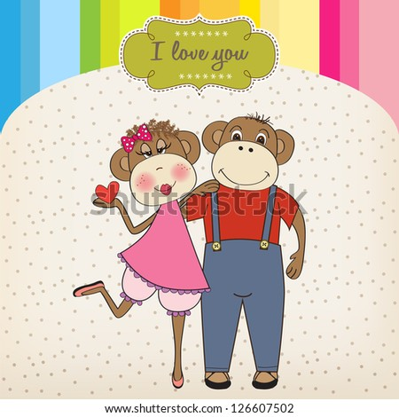 monkeys couple in love, Valentine's day card
