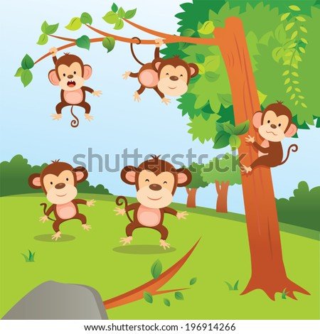 Monkeys in the jungle. A group of monkeys playing in the jungle. - stock vector